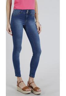 Calça Jeans Feminina Super Skinny Pull Up Azul Escuro