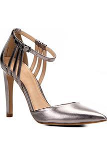 Scarpin Couro Shoestock Salto Alto Minimal - Feminino-Chumbo