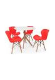Conjunto Mesa De Jantar Maitê 80Cm Branca Com 4 Cadeiras Eames Eiffel Slim - Vermelha