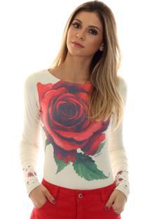 Blusa Ficalinda Com Uv Estampa Com Rosa Vermelha Exclusiva Decote Canoa - Bege - Feminino - Elastano - Dafiti