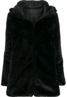 Save The Duck Reversible Faux Fur Coat - Preto