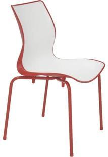 Cadeira Com Encosto Fechado E Pernas Pintadas Maja Summa Branca/Vermelha