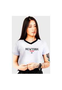Camiseta Cropped Feminino Prison New York Track White