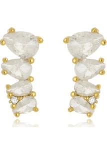 Brinco Ear Cuff Gotas Carola Cristal Fusion Di Capri Semi Jã³Ias X Ouro Dourado - Dourado - Feminino - Dafiti