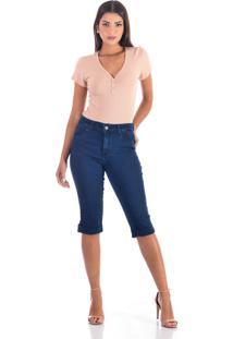 Bermuda Sisal Jeans Pedal Barra Virada Blue