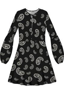 Vestido Manga Longa Estampa Tecido Cashmere - Lez A Lez