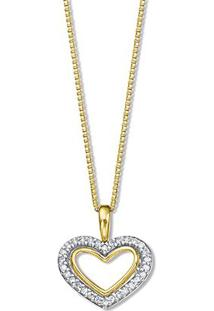 Pingente Corações Ouro Amarelo Ouro Branco E Diamantes 10 Mm