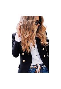 Blazer Feminino Clássico Alfaiataria Atemporal Chique Rosa Tipo Balmain Diferenciado Preto