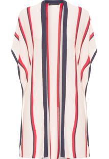 Kimono Feminino Tricot Com Listras - Bege