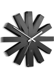 Relógio De Parede Ribbon Aço Inox 30,5 Cm Preto Umbra
