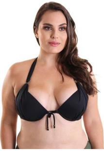 Top Plus Size Líquido Biquíni Push Up Feminino - Feminino-Preto