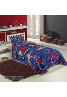 Edredom Dupla Face Spider Man® Solteiro- Azul Escuro & Vlepper