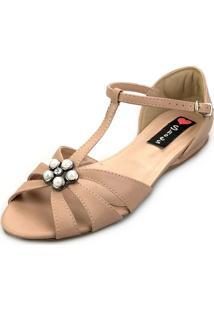 Sandália Rasteira Love Shoes Salomé Aplique Pérola Nude