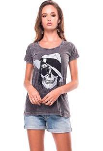 Camiseta Estonada Skull Jackson Liverpool Feminina - Feminino-Preto