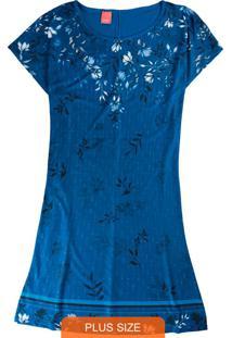 Vestido Azul Curto Floral Em Liganete
