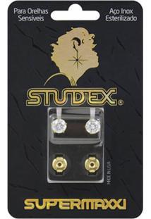Brinco Studex Supermaxxi Dourado Pedra Branca 1 Unidade