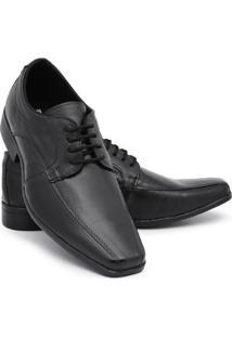 Sapato Social Couro Schiareli Cadarço Masculino - Masculino-Preto