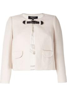 Paule Ka Cropped Buckle Jacket - Branco
