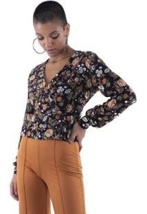 Blusa Pop Me Cropped Floral Botões Feminina - Feminino-Preto