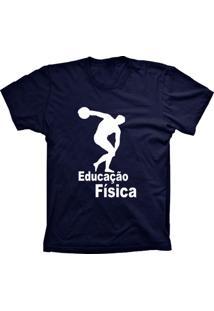 Camiseta Lu Geek Manga Curta Educação Física Azul Marinho