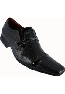 Sapato Social Calvest Couro Capuccino Masculino - Masculino-Preto