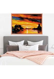 Quadro Love Decor Com Moldura Beau Paysage Rose Metalizado Grande