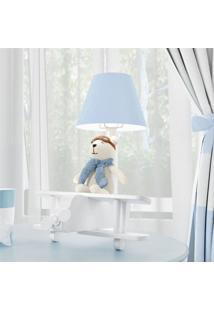 Abajur Quarto Bebê Menino Urso Aviador Azul Grão De Gente Azul