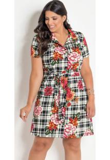 Vestido Chemise Plus Size Xadrez/Floral