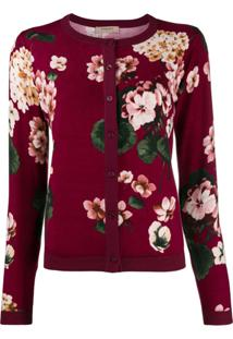 Twin-Set Cardigan Com Estampada Floral - Roxo