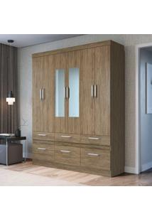 Guarda-Roupa Casal 6 Portas 6 Gavetas Com Espelho Rp3660/E Wood - Decibal Móveis