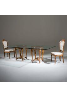 Mesa De Jantar Luxo Retangular Tampo De Vidro Madeira Maciça Design Clássico Avi Móveis