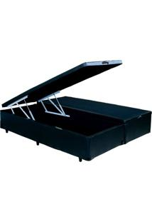 Cama Box Baú Queen Bipartido Preto Com Pistão Hidráulico 1,58 X 1,98