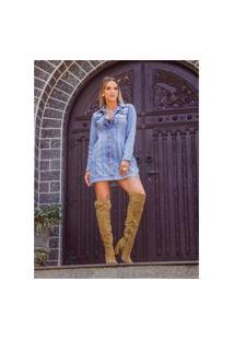 Jaqueta Maxi Jeans Sky Claro