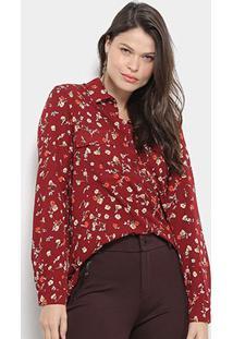 Camisa Facinelli Floral Bolso Frontal Feminina - Feminino-Vinho