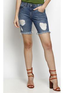 Bermuda Jeans Com Destroyed- Azulnem