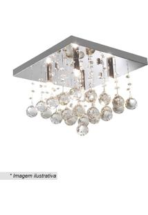 Plafon Quadrado Com Pingentes- Cristal- 24X34Cm-Hevvy