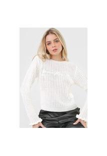 Blusa Tricot Lança Perfume Textura Logo Off-White
