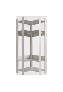 Closet Aberto Canto Com Prateleiras E Cabide Off White Completa Móveis