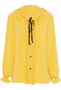 Miu Miu Blusa De Crepe Da China - Amarelo
