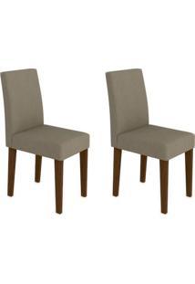 Conjunto Com 2 Cadeiras Giovana Castanho E Cinza