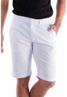 Bermuda 658 Sarja Branca Traymon Modelagem Regular