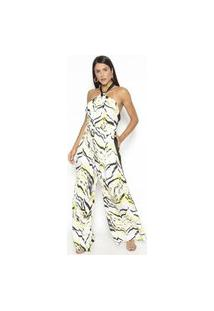 Macacão Fashion4You Com Faixa Lateral Branco