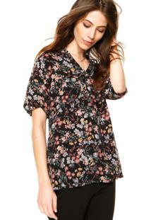 Camisa Holin Stone Floral Preta