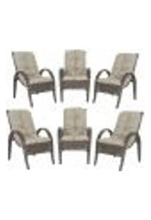 Cadeiras 6Un P/ Jardim Lazer Edicula Varanda Descanso Fibra E Tramas Napoli Plus Pedra Ferro A11