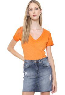 Camiseta Calvin Klein Jeans Flamê Laranja