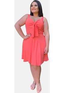 Vestido Curto Social Verão Tnm Collection Plus Size Casual Festa Rosa Coral