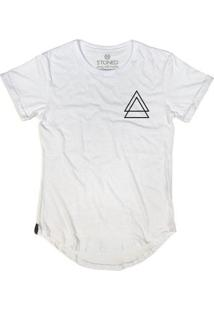 Camiseta Longline Stoned Triple Triangle Masculina - Masculino-Branco