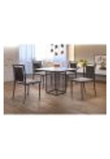 Conjunto De Mesa De Jantar Hera Com Tampo De Vidro Mocaccino E 4 Cadeiras Grécia I Linho Bege E Grafite