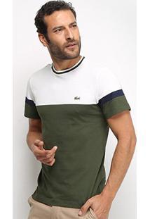Camiseta Lacoste Bicolor Masculina - Masculino-Branco+Verde