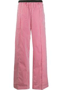 Plan C Calça Pantalona Com Listras - Vermelho